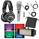 Audio Technica ATH-M50x Professional Studio Monitor Headphones with Falcon XM4 Professional Voice Cord Microphone and Falcon FL104 Electro Box RGB LED Bundle