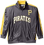 MLB Pittsburgh Pirates Men's Team Reflective Tricot Track Jacket, X-Large/Tall, Charcoal/Gold