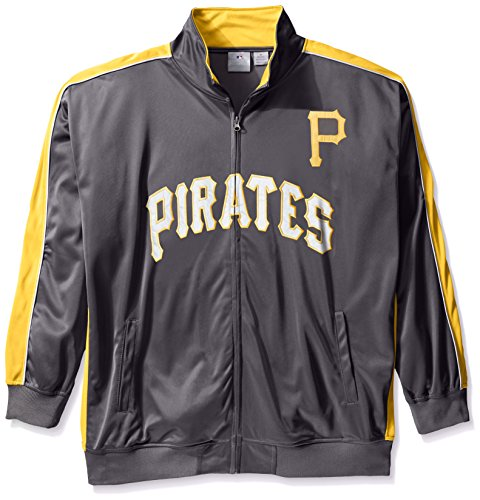 Profile Big & Tall MLB Pittsburgh Pirates Men's Team Reflective Tricot Track Jacket, 4X, Charcoal/Gold