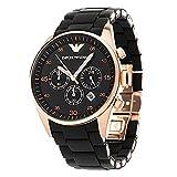 New EMPORIO ARMANI Mens Black and Gold Chronograph Watch AR 5905
