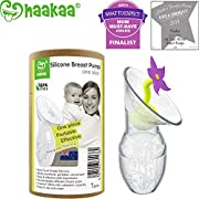 Haakaa Breast Pump with Flower Stopper 100% Food Grade Silicone BPA PVC and Phthalate Free (3.5oz/100ml) (Purple)