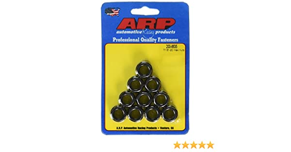 ARP  200-8634  2008634 Hex Nuts Package Of 10 With 42802-24 Thread Size And 42994 Socket Size Steel With Black Oxide Finish