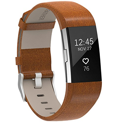 Henoda Replacement Bands Compatible with Fitbit Charge 2, Classic Genuine Leather Charge 2 Band Fitness Wristband for Women Men Small Large Bright Brow