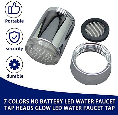 Libertroy 7 couleurs changeantes LED robinet deau du robinet lueur robinet deau contr/ôle de la temp/érature auto-coloration lumi/ère changement de couleur robinet-argent
