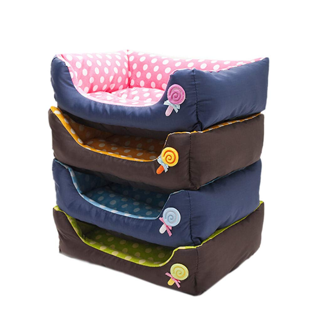 Glumes New Rectangle Pet Bed with Lollipop Printing,Resistant Bite Soft and Washable Pet Mat Dog House Small Medium Large Pet Animal Small Dog Bed Ideal (S, Blue)