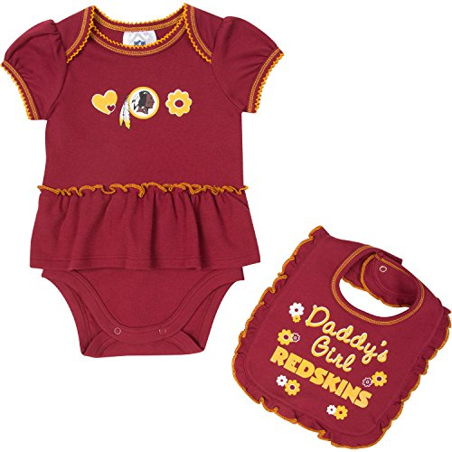 NFL Washington Redskins Baby-Girls Skirted Bodysuit & Bib Set, Red, 3-6 Months