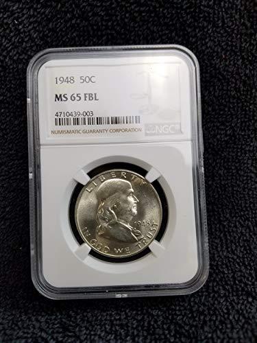 Dollar 1951 Half Franklin - 1948 P Franklin Half-Dollar 90% Silver (1/2) MS65 FBL Bright White Full Bell Lines Certified MS65/BU NGC