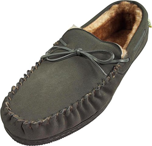 NORTY Mens Suede Leather Moccasin Slipper, Grey 39863-11D(M) US (Suede Classic Slippers)