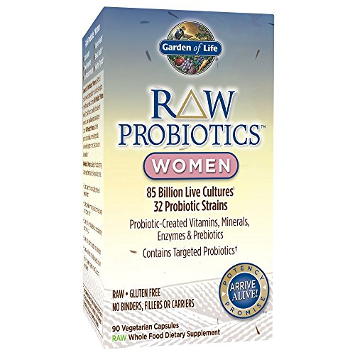 Garden of Life - RAW Probiotics Women - Acidophilus and Bifidobacteria Probiotic-Created Vitamins, Minerals, Enzymes, and Prebiotics - Gluten Free - 90 Vegetarian Capsules (Shipped Cold)