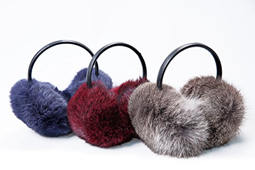 - Warm, fur female headphones, earmuffs made of genuine rabbit fur (Midnightblue)