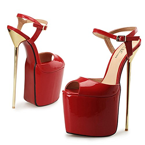 Red L Fine 22cm YC With Toe Office Heels High Occupation Platform Spring Women's Party Evening Summer and Henti Open Clasp High RnxRgrq
