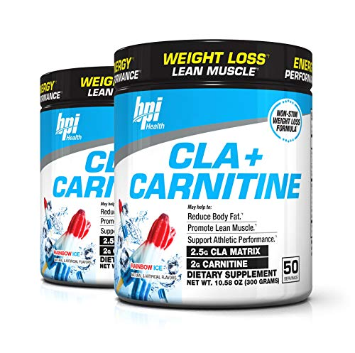 BPI Sports Cla + Carnitine Non-Stimulant Weight Loss Supplement Powder, 300 Gram, 50 Servings (2 Pack) (Rainbow Ice)