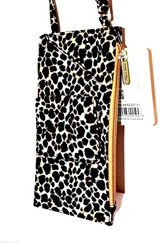 Travelon Cross Body Shoulder Travel Wallet Leopard Neck Purse Passport Organizer - Leopard - brown / beige