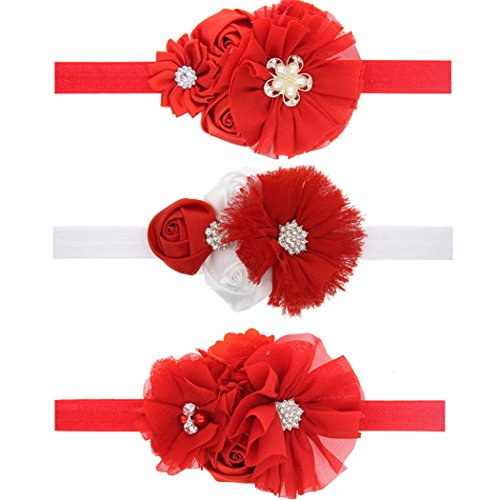 Ms.Gaga Baby Girl Christmas Headband Flower Diamond Red Hair Accessories 3PCS