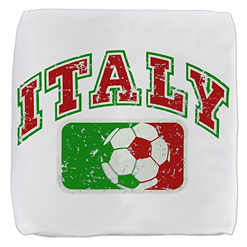 18 Inch 6-Sided Cube Ottoman Italy Soccer Grunge Italian Flag by Royal Lion