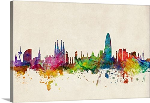 Michael Tompsett Premium Thick-Wrap Canvas Wall Art Print entitled Barcelona Spain Skyline by Canvas on Demand