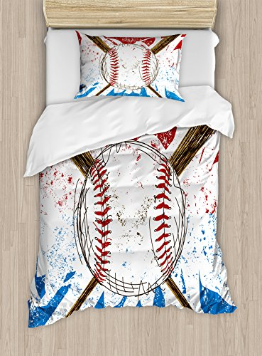 Boy's Room Duvet Cover Set Twin Size by Lunarable, Hand Drawn Baseball Bat and Ball on Grunge Colored Artistic Background, Decorative 2 Piece Bedding Set with 1 Pillow Sham, Ruby Blue Brown (Baseball Bat Bedding)