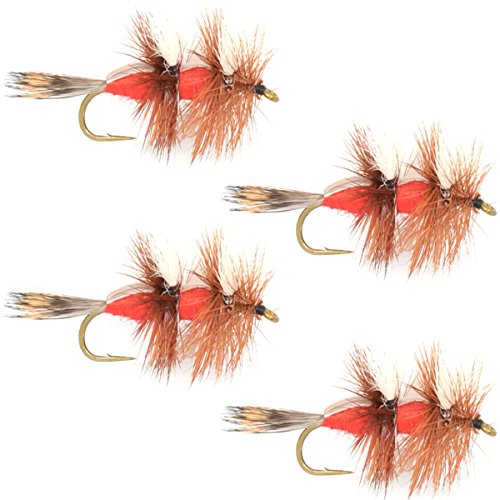 The Fly Fishing Place Royal Double Humpy Trout Dry Fly Fishing Flies - Set of 4 Flies Size 10 (Best Steelhead Fly Patterns)