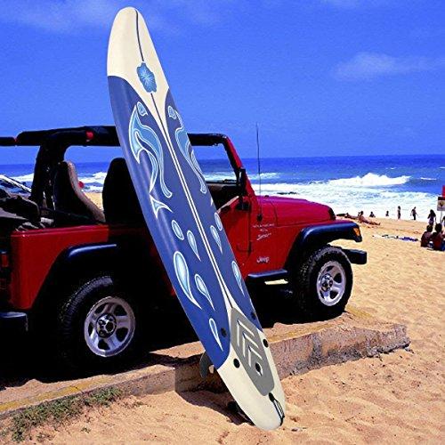 GYMAX 6 Feet Surfboard Beach Ocean Surfing Boards Body Boarding Youth Men Women Surf Board w/Leash Non-Slip Mat Fin Set (White+Blue)