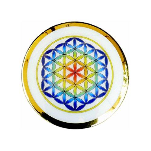 - Heartsforlove Framed Rainbow Flower of Life Lenticular Button