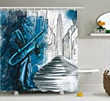Ambesonne Jazz Music Decor Collection, Saxophone Man Playing Solo in the Street at
