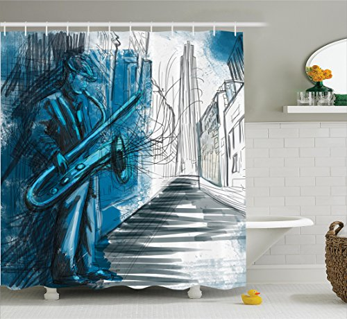 - Ambesonne Jazz Music Decor Collection, Saxophone Man Playing Solo in the Street at Night Vibes Grunge Home Decor, Polyester Fabric Bathroom Shower Curtain Set with Hooks, Dark Blue Black White