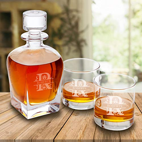 Personalized Antique 24 oz. Whiskey Decanter - Set of 2 Lowball Glasses (FILIGREE)