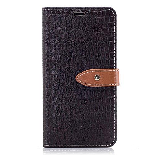 Trumpshop Smartphone Carcasa Funda Protección para LG K8 (2017) [Marrón] Patrón de Piel de Cocodrilo PU Cuero Caja Protector Billetera Choque Absorción Marrón Oscuro