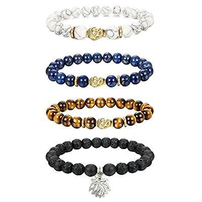 Cheap Thunaraz 4pcs 8MM Unisex Buddha Bracelets Lava/Tiger Eye/ Lapis/Turquoise Energy Stone Mala Beads with Lotus Charm supplier