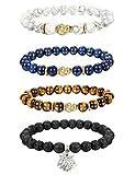 Thunaraz 4pcs 8MM Unisex Buddha Bracelets Lava/Tiger Eye/ Lapis/Turquoise Energy Stone Mala Beads with Lotus Charm