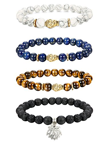 Thunaraz 4pcs 8MM Unisex Buddha Bracelets Lava/Tiger Eye/ Lapis/Turquoise Energy Stone Mala Beads with Lotus Charm