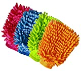 #8: Aeroway Chenille Microfiber Premium Scratch-Free Car Wash Mitt - Double Sided, 4 Pack, 4 Color