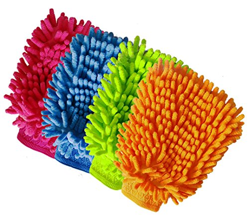 Aeroway Chenille Microfiber Premium Scratch-Free Car Wash Mitt - Double Sided, 4 Pack, 4 ()