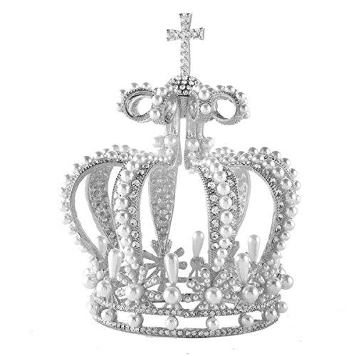 Stuffwholesale Pearl Bun Tiara Cross Style Crystal Rhinestone Crown
