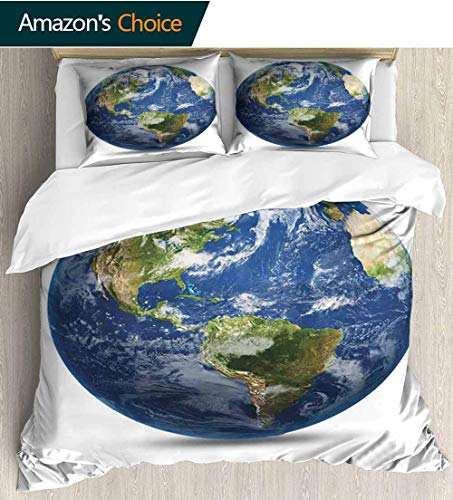 World Map Style 3D Digital Print Bedding Sets,Planet Earth Picture From Space Satellite Continents Clouds Picture 100% Cotton Beding Linens for Kids Children 90