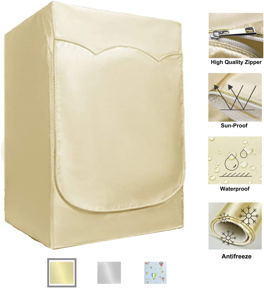 """Washer/Dryer Cover for Front-loading Machine - Waterproof, Dustproof, Sun-Proof, W27""""D33""""H39""""Suitable for most Washers/Dryers on US and Canadian market (Gold)"""