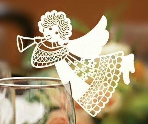 50 pièces - Ange - bonbonnières, marque-place, marque-verres, marque table - papier blanc perlé, baptême, confirmation, anniversaire baptême
