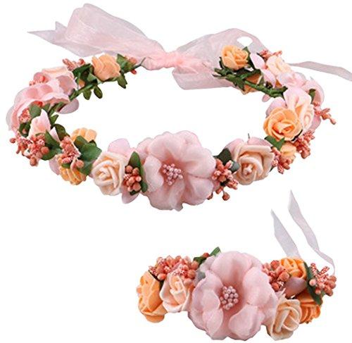 - Coolwife Flower Crown Wedding Hair Wreath Floral Headband Garland Wrist Band Set( Peach)