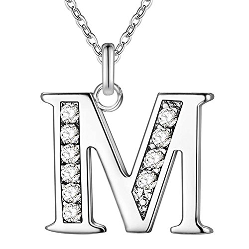 Letter Shiny Silver - Academyus Simple Shiny Zircon 26 English Letters Pendant Women Men Necklaces Jewelry Gift M