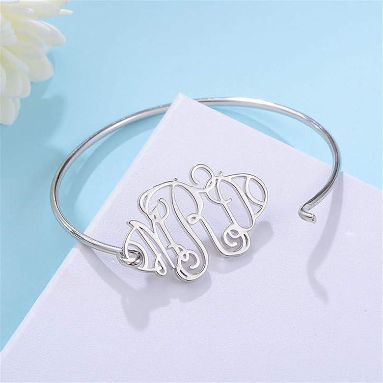 Stan-Deed Personalized Monogram Bracelet Initial Letter Bangle Pulseiras