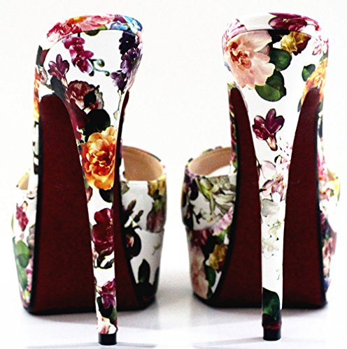 Abby A22 Womens Platform Sexy Supper High Heeled Nightclub Party Cross Dressing Overside US9-17 Peep Toe Slip On PU Slippers Sandals Multicoloured-a 3EM0Drn5