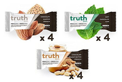 Truth Bar (Prebiotic + Probiotic) – Protein Pack (12 Bars) – Low Sugar, Diet Support,Gluten Free, 10g of Protein, High Fiber, Non-GMO, Soy Free, Kosher, Nutrition Snack Bar with Premium Dark Chocolate