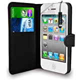 Apple iPhone 5S/5 - Leather Wallet Case Cover Pouch + SmallTouch Stylus PenAnd Screen Protector ( Black )