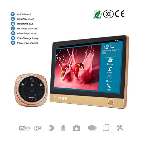 "Funxwe 7"" TFT Touch Screen Monitor Door Viewer WiFi Video..."