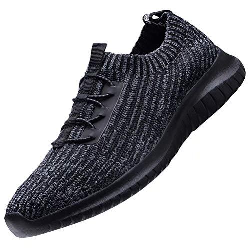 konhill Women's Comfortable Walking Shoes - Tennis Athletic Casual Slip on Sneakers 9 US Black/Gray,40