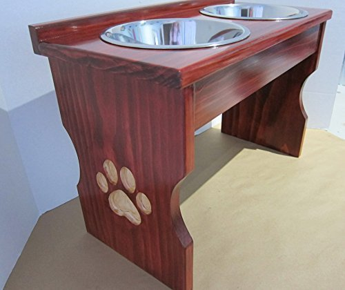 Paw Print Carved Leg Elevated Food Dish Holder - Small by Clever Cat & Crafty Dog