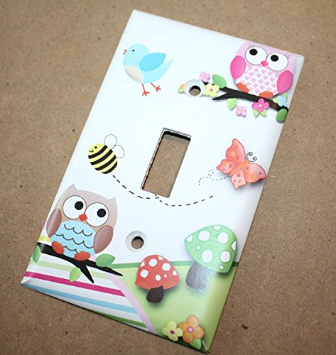 Twin Owls Girls Boys Birdies Bees Butterflies Bedroom Light Switch Cover LS0064 (Single Standard) Toad and Lily LS0064a