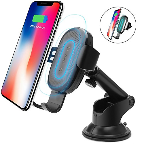 Price comparison product image Wireless Car Charger, Baseus 2-in-1 Air Vent & Bracket Phone Holder Gravity Car Mount Fast Charging for Samsung Galaxy S8, S7/S7 Edge, Note 8 5 and Standard Charge for iPhone X, 8/8 Plus & Qi Enabled