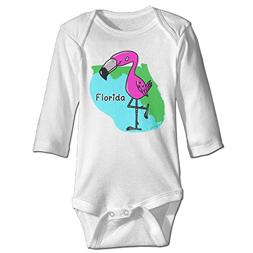Scotchblue Map Of Florida With Miami Flamingo Autumn Long Sleeve Infant Baby Boys Girls Climb Romper   Crawling Clothes