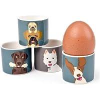 Burgon & Ball Creaturewares GCR/Eggdog The Rabble 'Chien Lot de 4coquetiers en Porcelaine Fine
